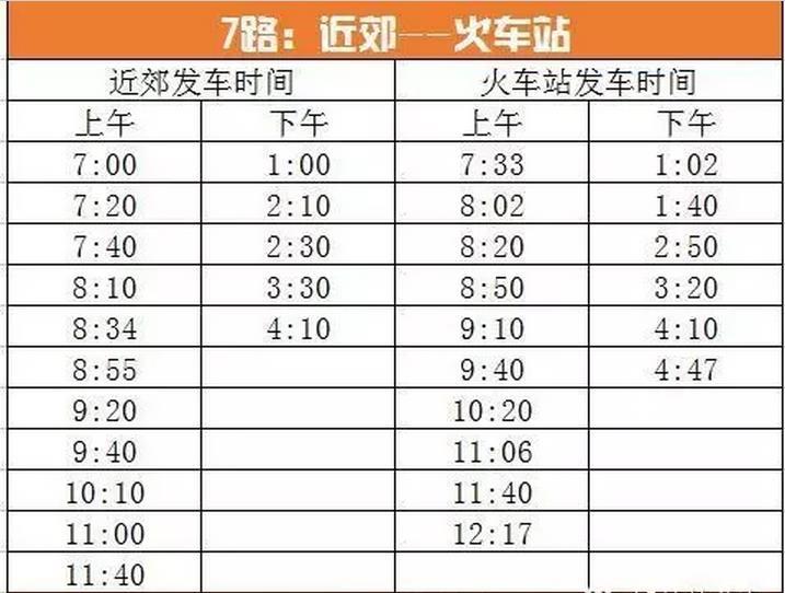 呼伦贝尔扎兰屯市7路公交车时间表