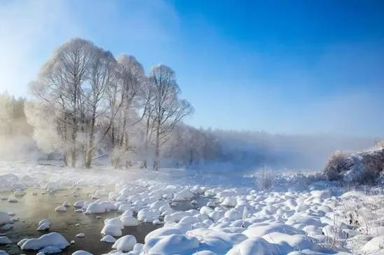 阿尔山冬天的不冻河