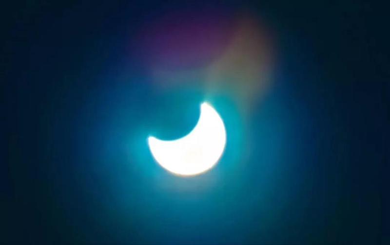 大兴安岭出现天狗吃太阳奇特现象图片一览