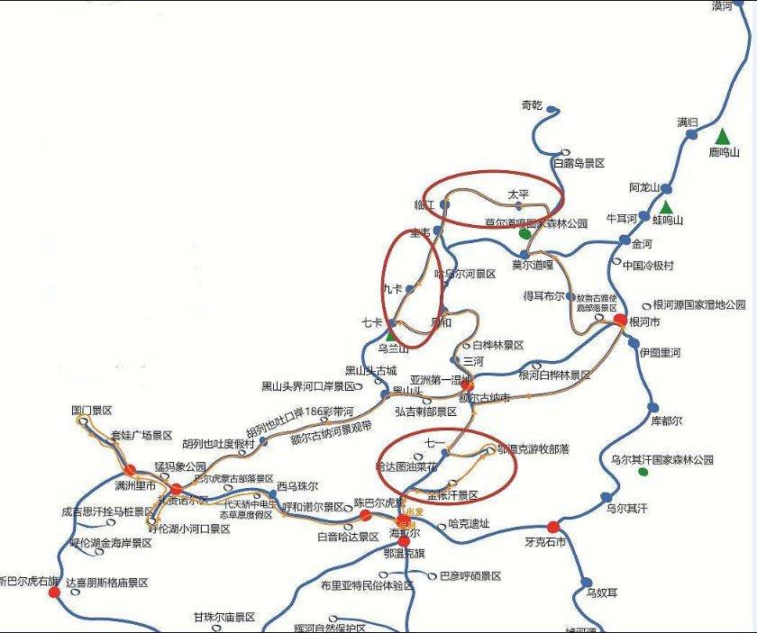 呼和浩特市去呼伦贝尔旅游线路图