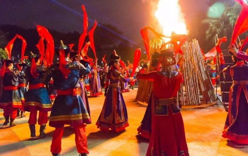 蒙古族人民的篝火晚会